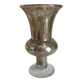 Etched Band Mercury Glass Vase