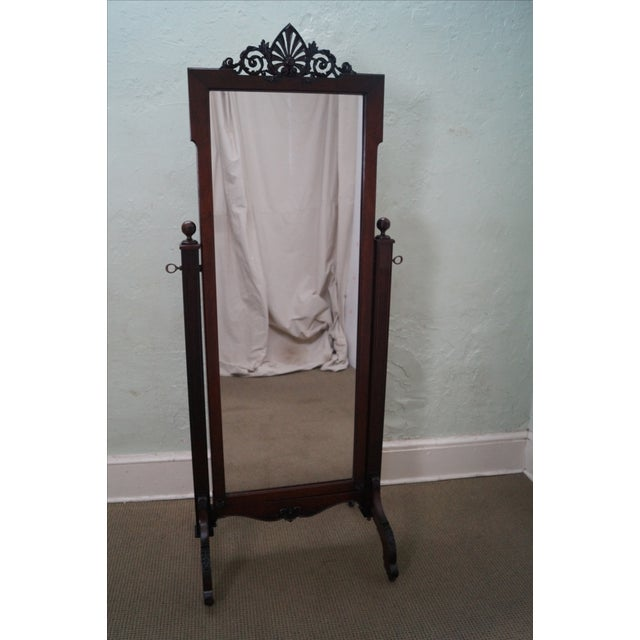 Antique Mahogany Classical Carved Cheval Mirror - Image 2 of 10
