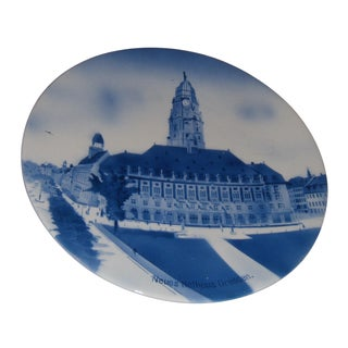 German Blue & White Ceramic Dresden Hall Wall Plate