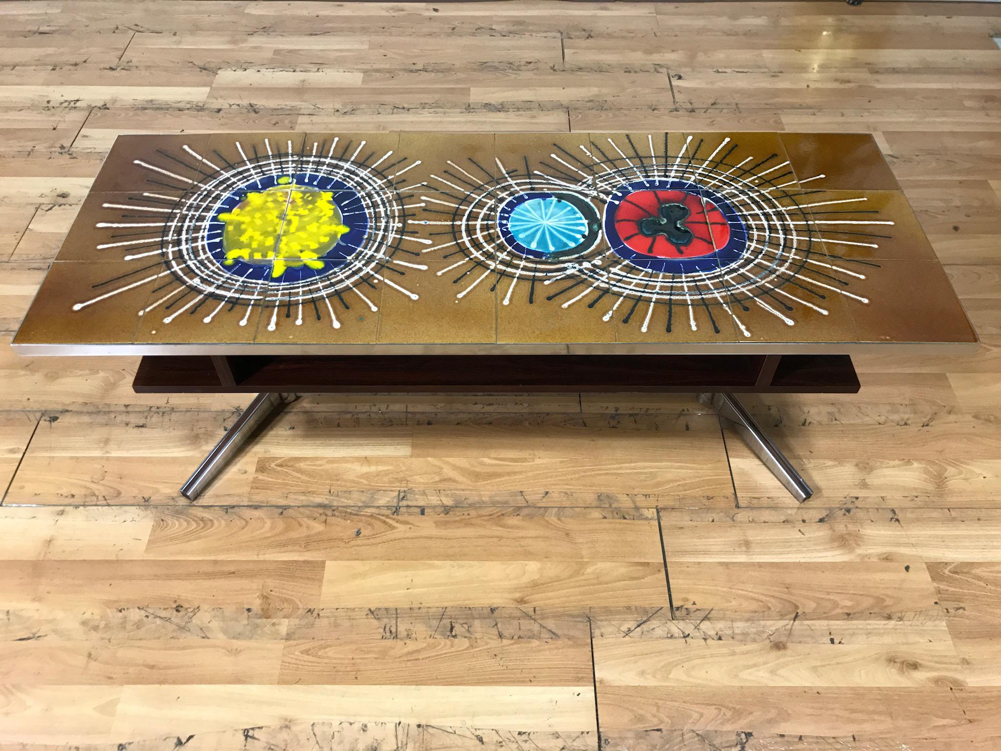 Mid Century Tile Top Coffee Table   Image 7 Of 7