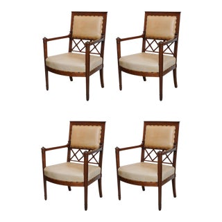 Rare Set of four Consulat Mahogany Armchairs, France
