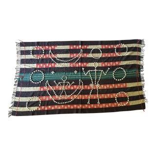 Vintage Naga Cotton Textile Throw With Cowrie Shells