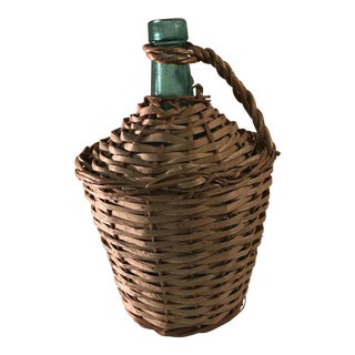 Vintage Wicker Cased Wine Bottle From Spain