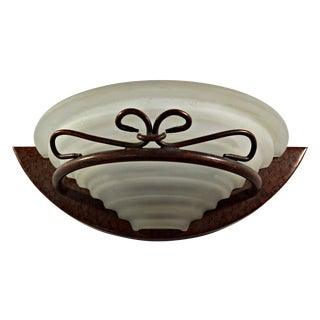 Art Deco Style Tortoise Metal Demilune Wall Sconce