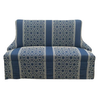 Blue & White Embroidered Loveseat