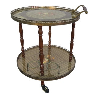 Vintage Sorrento Italian Lacquered Marquetry Bar Cart