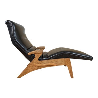 Erwin Lambeth Mid-Century Modern Leather Adjustable Chaise Lounge