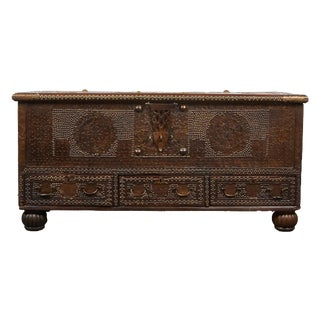19th Century Brass Studded Indian Teak trunk