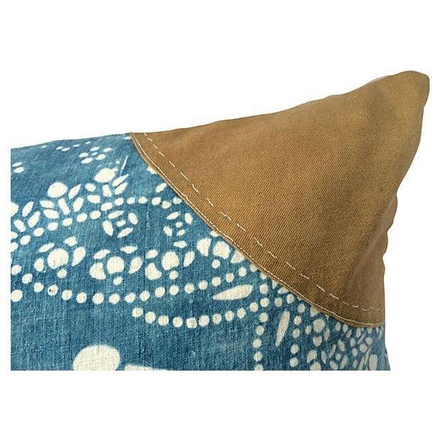 Antique Indigo Crane Batik Body Pillow - Image 3 of 6