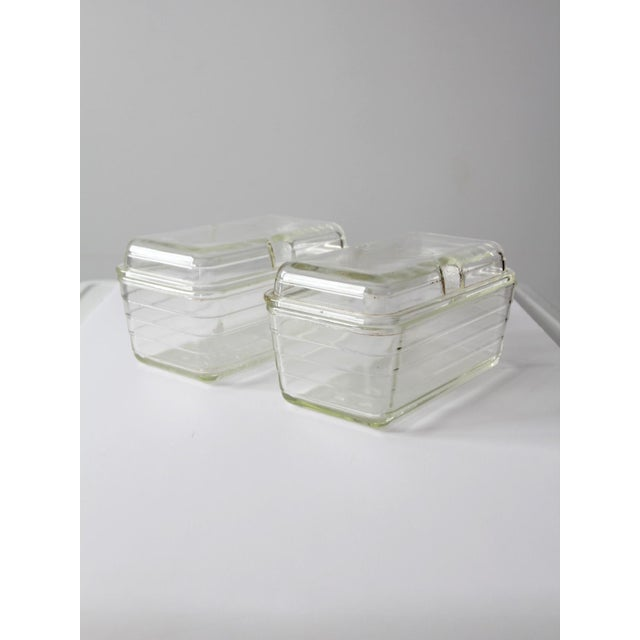 Image of Vintage Glasbake Glass Refrigerator Dishes - a Pair