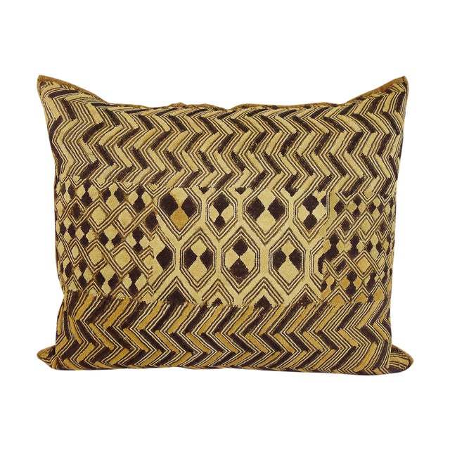 Vintage Embroidered Kuba Cloth Pillow - Image 1 of 4
