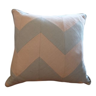 Blue & Ivory Chevron Pillow