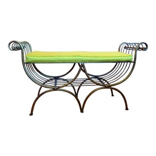 Gold Painted Metal Bench