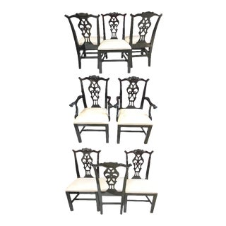 Century Chippendale Black Lacquer Dining Chairs - Set of 8