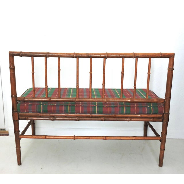 Vintage Bamboo Hall Bench - Image 4 of 6