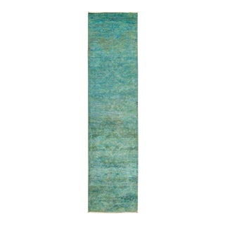 """Green Hand Knotted """"Vibrance"""" Runner Rug - 2' 7"""" X 10' 4"""""""
