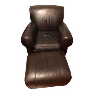 Pottery Barn Manhattan Leather Chair & Ottoman