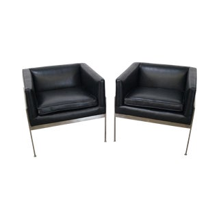Knoll Chrome Black Leather Lounge Chairs - A Pair