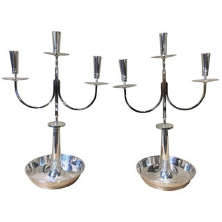 Tommi Parzinger Silver Plate Candelabras - A Pair