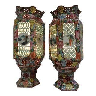 Antique Chinese Porcelain Wedding Lamps - A Pair