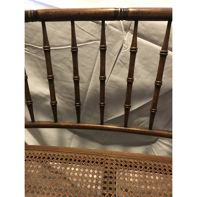British Colonial Faux Bamboo Cane Settee - Image 3 of 4