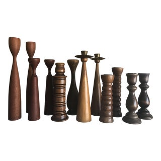 Danish Modern Teak Candlestick Collection- Set of 12