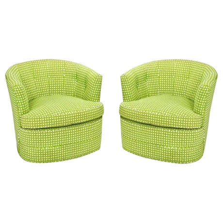 Pair Barrel Back Swivel Chairs In Chartreuse Needlepoint - Image 1 of 8
