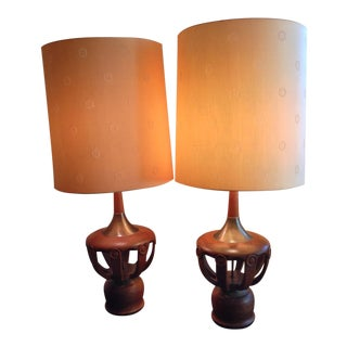 Modern Carved Wood & Brass Table Lamps - a Pair