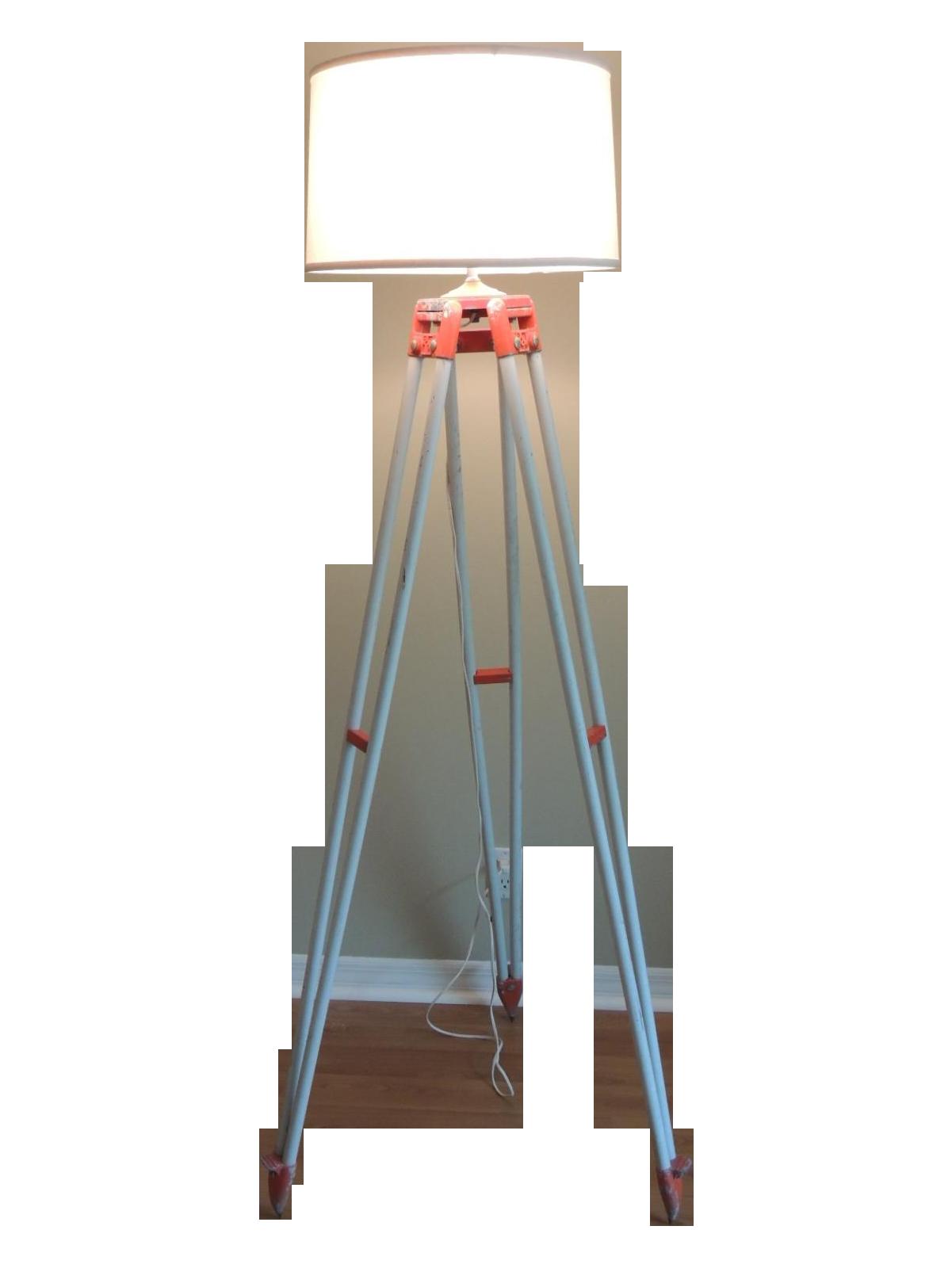 vintage orange surveyor tripod floor lamp