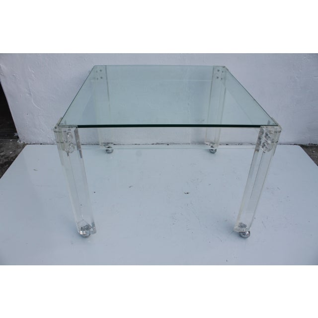 Square Lucite Dining Table Base - Image 2 of 8