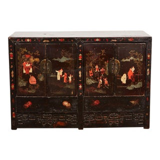 Late 17th Century Chinese Ming Lacquer Four Door Cabinet