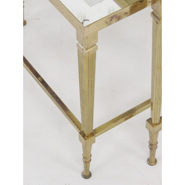 Directoire brass glass top nesting tables s 3 chairish for Glass top nesting tables