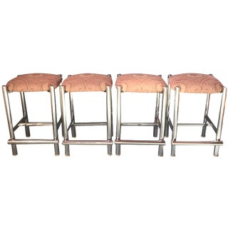 Tubular Chrome Counter Stools - Set of 4