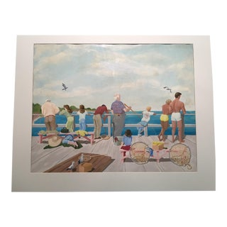 """Mid-Century Mary M. Kennedy """"Muscle Beach"""" Painting"""