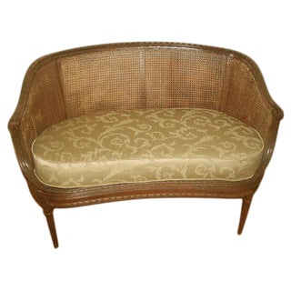 19th C French Louis XVI Upholstered Caned Settee