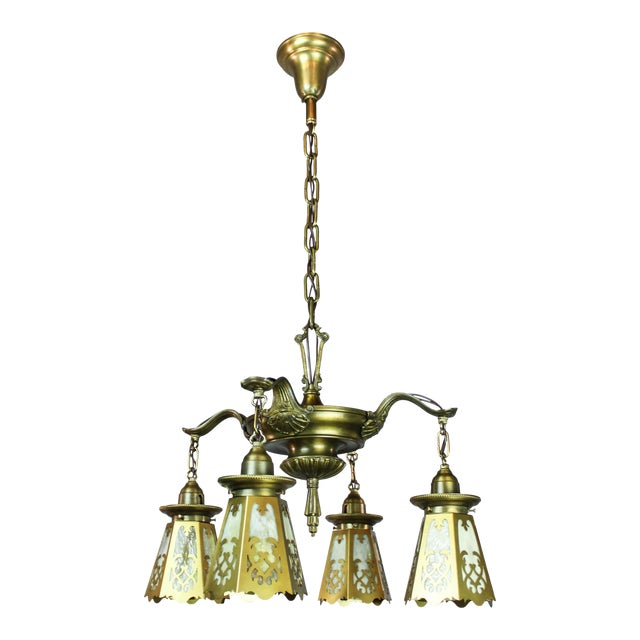 Antique Colonial Revival Pan Light Fixture (4-Light) - Image 1 of 11
