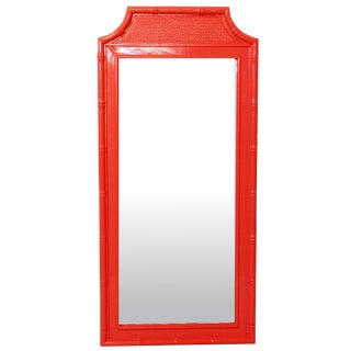 Faux-Bamboo Coral Wall Mirror