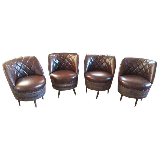 Naugahyde Wine Barrel Swivel Chairs Set Of 4 Chairish