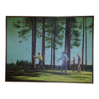 1960s Pebble Beach Golfer's Painting
