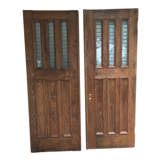 Solid Wood Doors With Glass Inserts - A Pair
