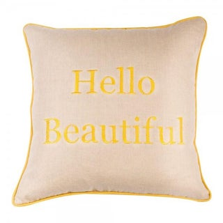 Embroidered Yellow Hello Beautiful Pillow