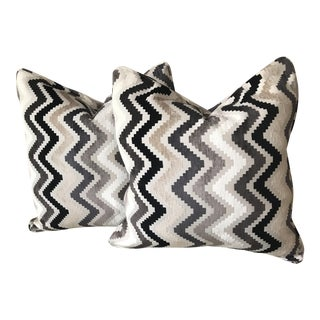 Grey Velvet Chevron Pillows - A Pair