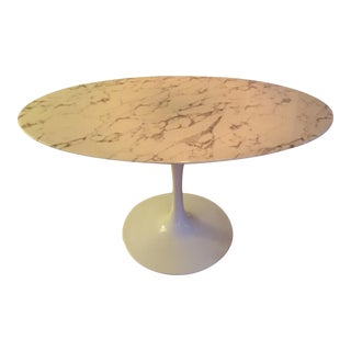 Saarinen-Style White Marble Oval Dining Table