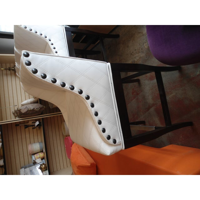 Image of Custom White Stitched Vinyl Barstools - Set of 2
