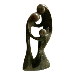 Tall Carved Stone Mid-Century Modern Sculpture of a Loving Family
