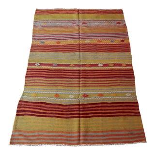 Striped Anatolian Kilim Rug - 5′2″ × 7′4″