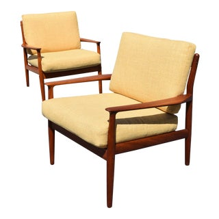 Vintage Grete Jalk for Glostrup Mobelfabrik Danish Modern Teak Easy Chairs - A Pair