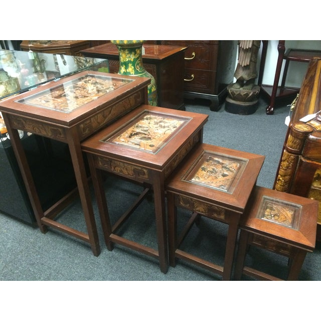 Asian Hand Carved Nesting Tables - Set of 4 - Image 4 of 7