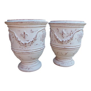 French White Painted and Distressed Anduze Pots - A Pair