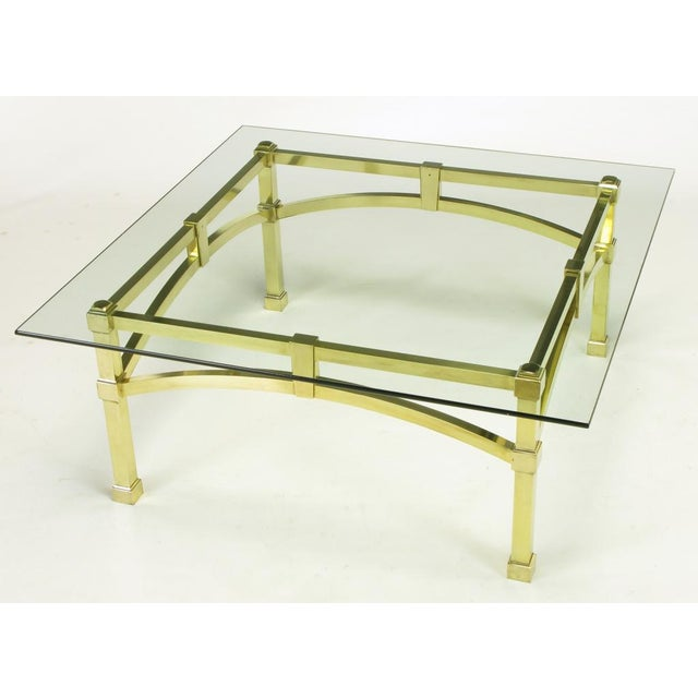Italian Postmodern Architectural Brass & Glass Coffee Table - Image 5 of 10